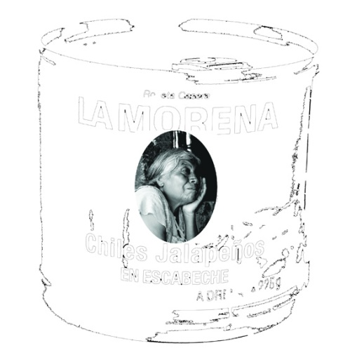 'La Morena Real'; mixed media on paper; 75cm x 75cm