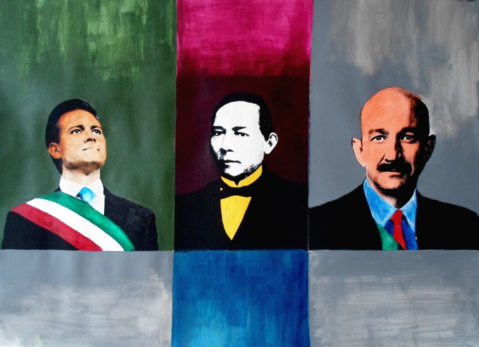 Three Faces of México; acrylic + polymer paint on paper; 95cm x 65cm